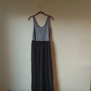 Loft gray and black tank maxi dress